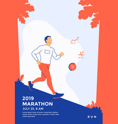 running marathon sport poster template with runner vector image