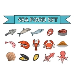 Sea food icons set Modern line doodle vector