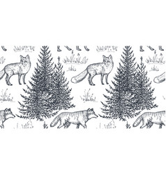 Seamless pattern with hand drawn animals vector