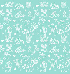 seamless pattern with white line cactus vector image