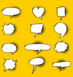 Set hand drawn speech bubbles with halftone vector