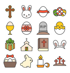 set of cute easter icon vector image