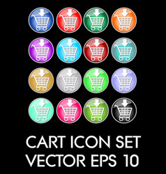 set of elegant cart icons circle glass button in vector image