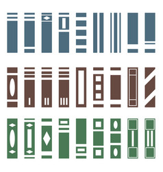 set various kinds books side view vector image