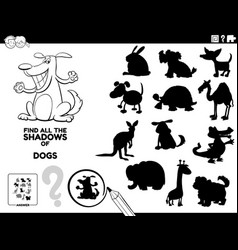 Shadow game with dogs color book page vector