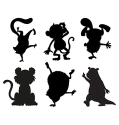 Silhouettes of animals in black and gray colors vector image