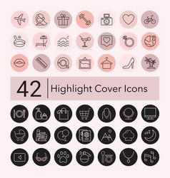 social media collection pink and black line vector image