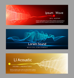 Sound wave banners digital abstract vibrant vector