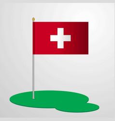Switzerland flag pole vector