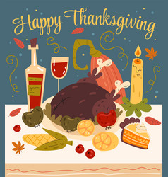 thanksgiving dinner with turkey and pumpkin vector image