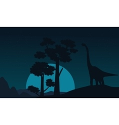 Tree and brachiosaurus scenery of silhouettes vector image