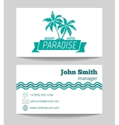 Tropical hotel business card template vector