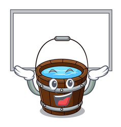 up board wooden bucket character cartoon vector image