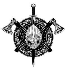 Viking helmet crossed axes and in a wreath vector