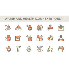 Water drinking and health icon set design 48x48 vector