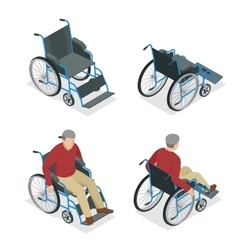 Wheelchair isolated man in flat 3d vector