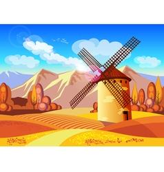 windmill in autumn vector image
