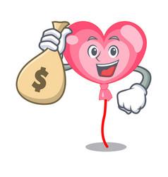 With money bag ballon heart character cartoon vector