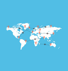 World travel map with airplanes vector