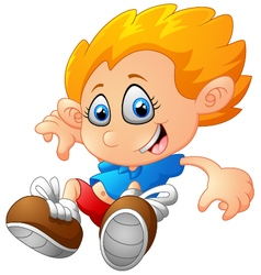 Young boy jumping vector image
