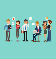 young business people using smartphones working vector image