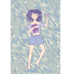 Young girl sleeping on the grass vector image