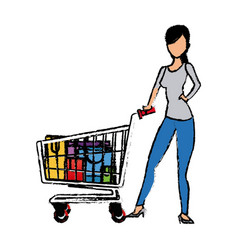 Young woman pushing supermarket shopping cart full vector