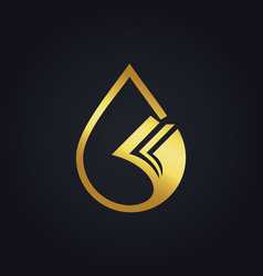 droplet data paper gold logo vector image vector image