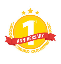 first anniversary circle badge with ribbon and vector image vector image