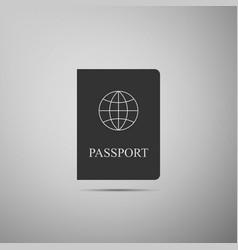 passport flat icon on grey background vector image