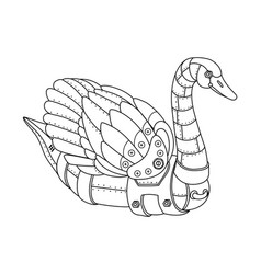 Steam punk swan coloring book vector