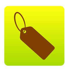 tag sign brown icon at green vector image vector image