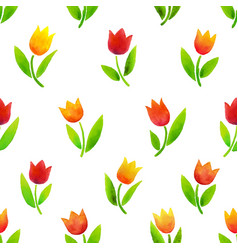 watercolor tulips pattern vector image vector image