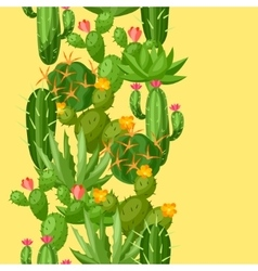 Cactuses and plants abstract natural seamless vector image vector image