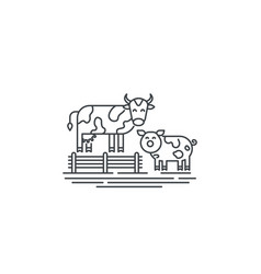 farm cows line icon outline of two vector image
