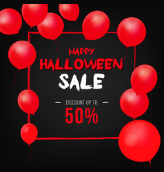 halloween background with red balloons vector image vector image
