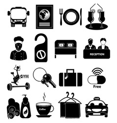 Hotel travel icons set vector image