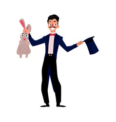 magician conjuring rabbit out of hat vector image