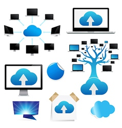 Set Reminder With Cloud Computing Icon vector image vector image