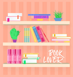 shelves with colorful books and plants in flat vector image