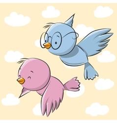 Two Cute Birds vector image vector image