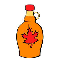 Bottle of maple syrup icon cartoon vector