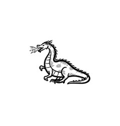 dragon breathing fire hand drawn sketch icon vector image