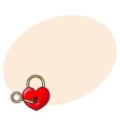 Heart shaped padlock and key for love lock unity vector