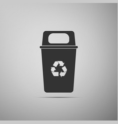recycle bin flat icon on grey background vector image
