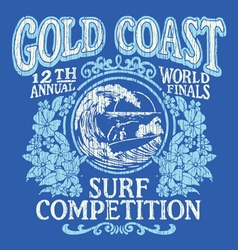 Vintage Surfing Tshirt Graphic Design vector image vector image