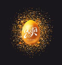golden egg with glitter on black vector image