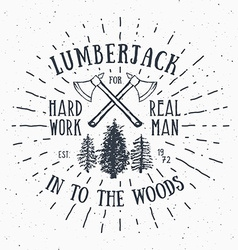 Lumberjack vintage label with two axes and trees vector image