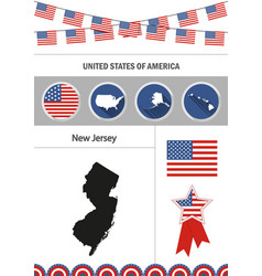 map of new jersey set of flat design icons vector image
