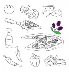 Pizza design elements vector image